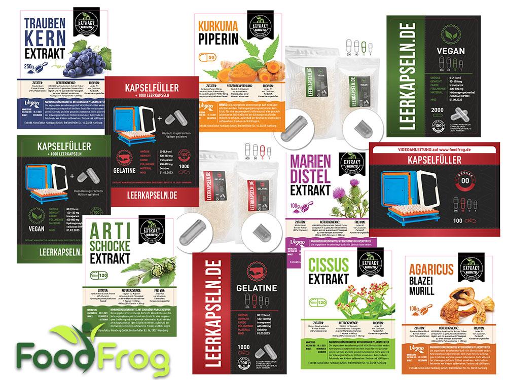 Etiketten für Pflanzenextrakte & Vitalstoffe